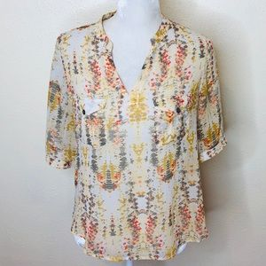 Two by Vince Camuto Yellow Sheer Blouse